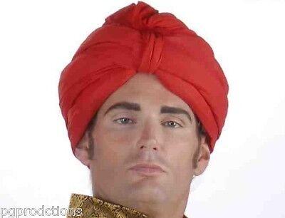 RED TURBAN ARABIAN SHEIK HEADPIECE HAT Egyptian Arab Adult Genie Wrap Swami