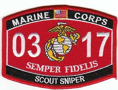 "USMC ""SCOUT SNIPER"" 0317 MOS MILITARY PATCH SEMPER FIDELIS MARINE CORPS"