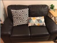 Two-Seater Sofa For Sale, Dark Brown, Faux Leather, Great Condition
