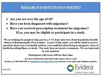 MIGRAINE STUDY: Research Participants needed inLondon