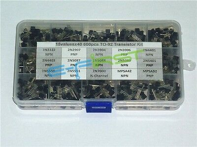 15values X40 600pcs To-92 Transistor Assortment Assorted Kit 2n2222 2n3904 Etc