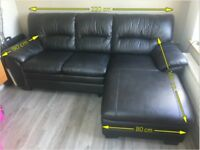 Black leather sofa, really comfortable, but hardly used, very clean, over £700 new