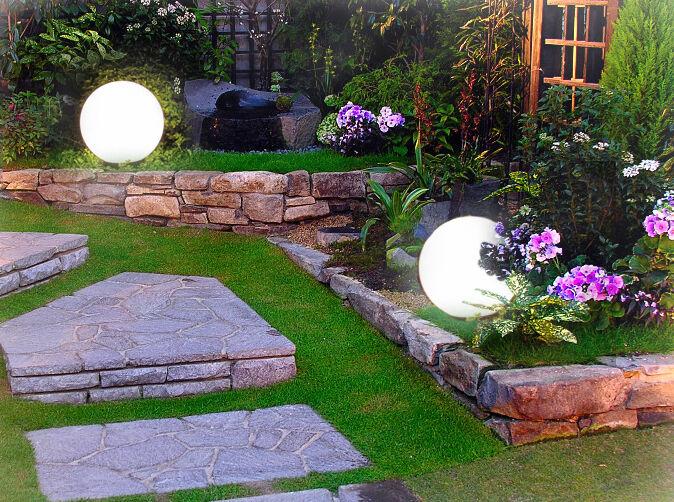 3er gartenleuchten gartenlampen kugellampe kugelleuchte 30. Black Bedroom Furniture Sets. Home Design Ideas