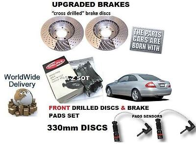 FOR MERCEDES CLK320 & CDi SPORT 05> FRONT DRILLED BRAKE DISC & PAD KIT+ SENSOR