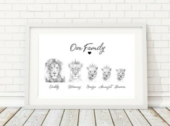 Personalised+Family+Prints+Lion+Gift+%28LILYS+PRINTS%29+christmas+birthday