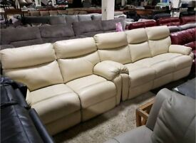 Cream leather 3 & 2 seater sofa electric recliner