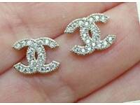 Beautiful! Tiny Chanel 925 sterling silver Diamante CC stud earrings