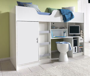 LIFESTYLE CABIN SINGLE HIGH SLEEPER CHILDRENS KIDS BED NEW WHITE R140W