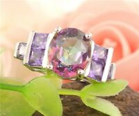 Cubic Zirconia Purple Crystal Ring - Size 8