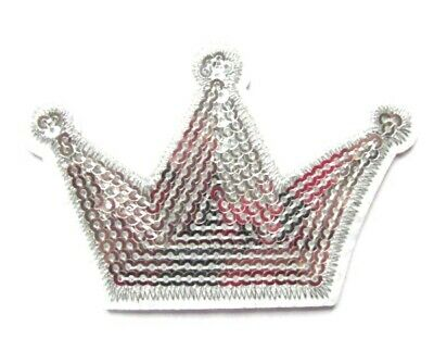 Sequin Silver Crown Iron On Patch Royal Queen Applique Craft Badge Patches HD209