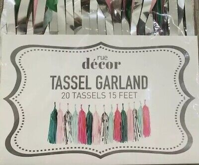 Rue Décor Tassel Garland DIY Party Decor for All Events & Occasions 15' silver