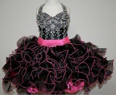 Cupcake Communion Dress (Glamorous Lovely  Girls Kids Ruffle Mini Party Pageant Dress Cupcake Ball)