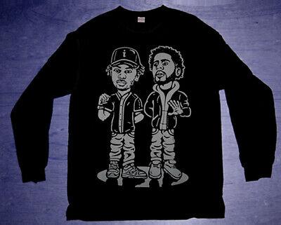 New Long Sleeve cajmear Black Grey J cole Kendrick Lamar shirt rapper duo tee L