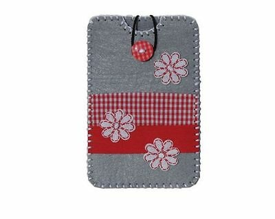 Filzbastelset Smartphone-Hülle grau Blumen rot L Handarbeit nähen Filz