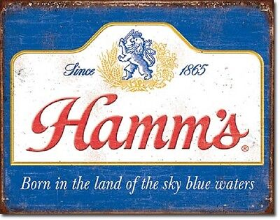Hamm's Sky Blue Waters Logo Distressed Advertising Retro Vintage Metal Tin Sign