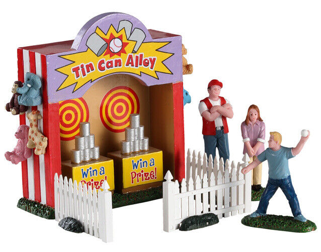 Lemax -TIN CAN ALLEY TOSS -Carnival Booth -Train -Holiday Village Accent