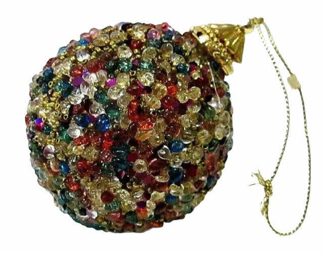 "Bold Bead & Sequin 3"" Ball Christmas Tree Ornament Possibly Handmade"
