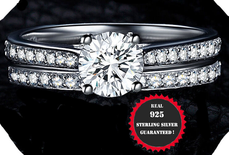 2ct  Real 925 Sterling Silver Wedding AAA CZ Ring Women's Band sz 4-11.5     2