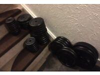 Metal weights set plus bars