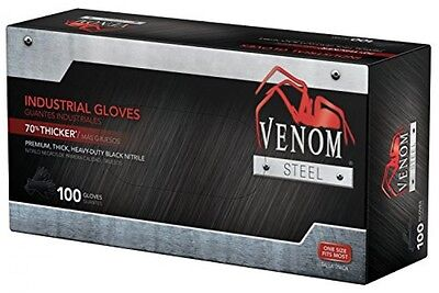 Venom Steel Premium Industrial Nitrile Gloves Black Pack Of 100