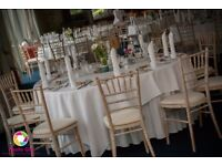 100 CHIAVARI CHAIRS WITH HESSIAN TABLE RUNNERS ONLY £240