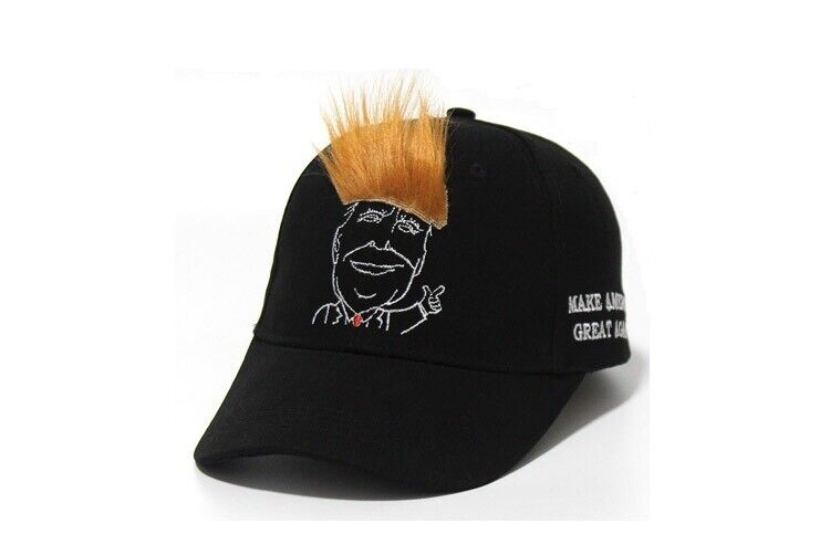 TRUMP 2020 President Black Victory Cap Hat w/Gold Hair Make America Great Again Collectibles