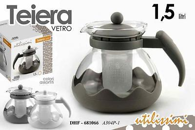 Teiera bollitore 1,5lt in vetro infusi tisane thè thea shabby chic con filtro