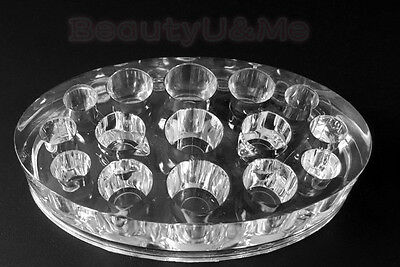 15 Holes Oval Tattoo Acrylic Pigment Best Quality Ink Cup Holder,Clear US