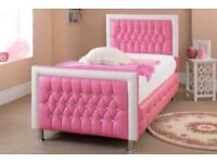 Pink Leather and diamonte single bed frame