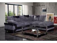 Brand New Luxury Dino Jumbo Fabric And Leather 3+2 Or Corner Sofa