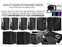 Speaker hire - PA HIRE - SOUND SYSTEM HIRE, DDJ SZ, QSC K12, RCF 745, RCF 4PRO 8003, DISCO LIGHT