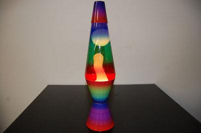 20oz Color Max Rainbow Lava Brand Motion Lamp Clear Liquid  w/White Lava
