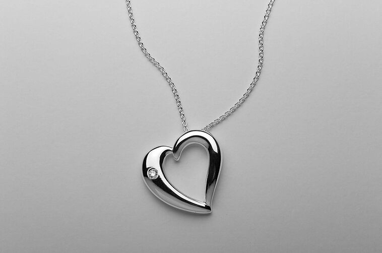 Dorfman Sterling Floating Heart Pendent with Diamond Accent Jewelry