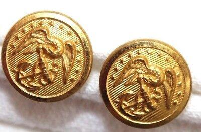 USMC Gold finish brass dress cap screw buttons 5/8in 16mm 24 L pair B4507