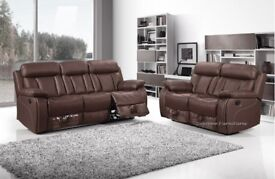 Leather sofa, 3 & 2, recliners, soft, real nappa, leather.