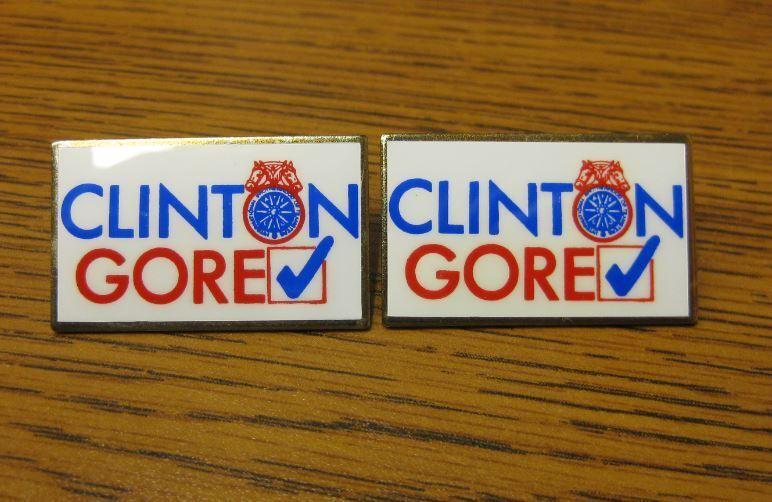 2 NEW US President Bill Clinton Al Gore IBT Teamsters Logo Lapel Pins Political