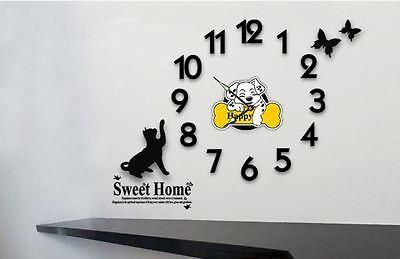 Modern DIY Wall Clock 3D Number Sticker Home Decor Interior - Cat&Butterfly