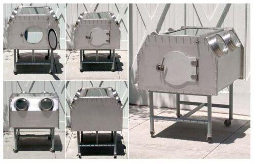 Steam Punk, Industrial Chic, Stainless Steel Vitrine Steel Glovebox Cabinet