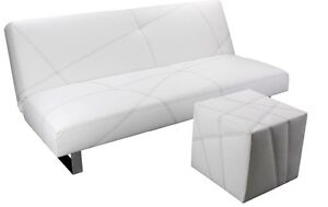 klick klac futon  blanc promo  pattes en stainless
