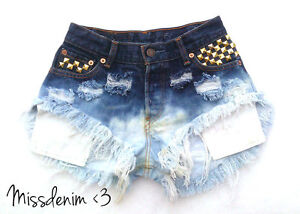 DIY-Levis-Rainbow-Vintage-Ombre-Shorts-destroyed-NEON-high-waisted-Gold-Studs