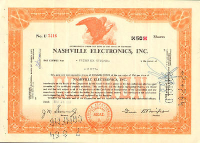 Nashville Electronics > Tennessee stock certificate