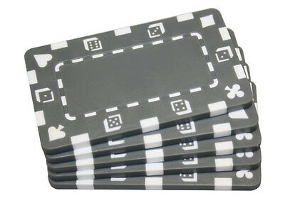5 pcs  Grey Rectangular Poker Chips Plaques