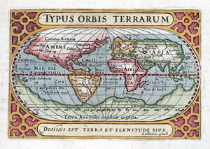 THE WORLD, TYPUS ORBIS TERRARUM, BERTIUS, HONDIUS original  antique map 1606