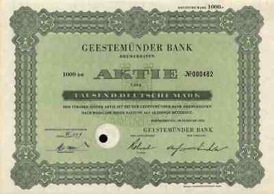 Geestemünder Bank 1952 Bremerhaven ADCA Hamburg Bremen 1000 DM Neelmeyer Bank