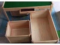 large beechwood real wood storage box on wheels