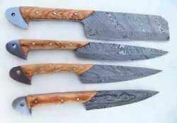 Damascus Handmade Custom Chef Kitchen Knives Set of 4 Knives Leather Sheath