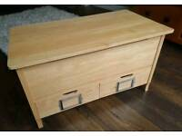 Solid wood toy box, chest, bench seat with two drawers