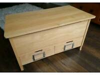Solid wood toy box, chest, bench with two drawers
