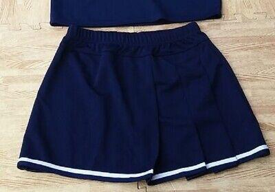 ADULT PLUS SIZE NAVY BLUE Pleated Cheerleader Uniform Skirt 36-40