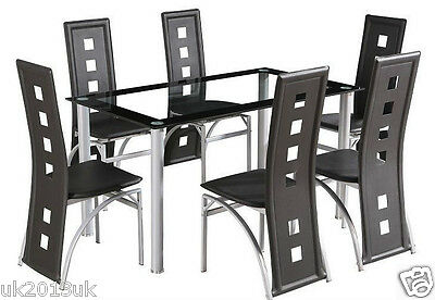 Dining Room Table Set and 6 Faux Leather Chairs dining chairs Furniture New